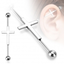 Industrial Inlay Ohr Piercing Helix Barbell Kreuz