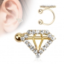 Diamant Ohr Helix Cartilage Gold Ohrklemme