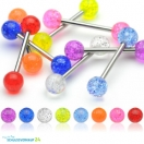 8er Set Zungenpiercing Barbell Glitter Kugel