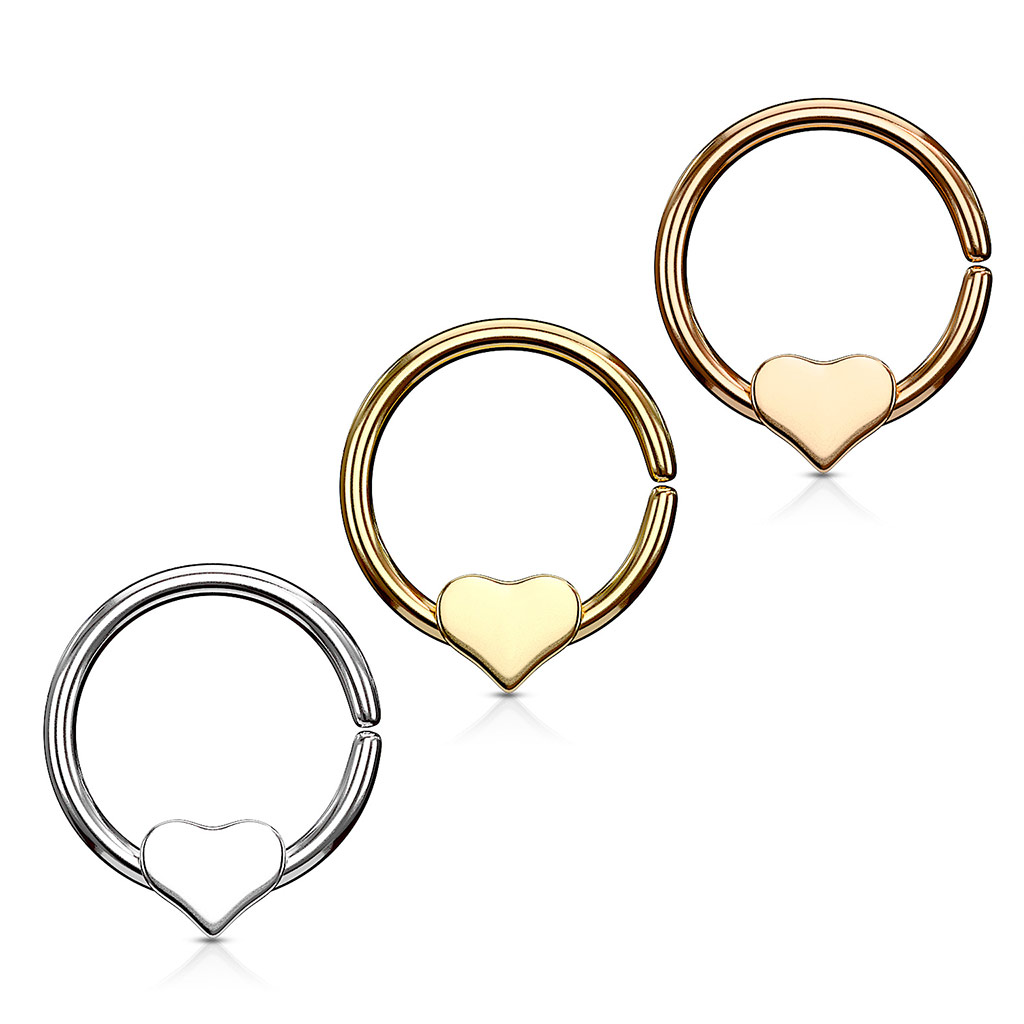 Septum Ring Piercing Nose Ring Heart Shield Universal Tragus Helix ...
